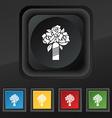 wedding bouquet icon symbol Set of five colorful vector image vector image