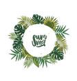 wreath or circular garland made of palm tree vector image vector image