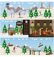 set of winter fun posters banners in flat vector image