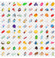 100 paying money icons set isometric 3d style vector image vector image