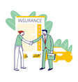 accident insurance concept agent character vector image