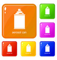 aerosol can icons set color vector image vector image