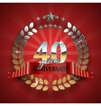 Anniversary 40th ring with red ribbon vector image
