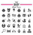 baby solid icon set kid symbols collection vector image