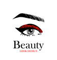 beautiful eye with red glitter makeup fashion eye vector image vector image