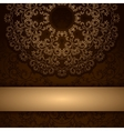 Brown invitation card with round floral ornament vector image