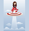 business woman superhero flying and breaking vector image