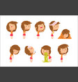cartoon unhappy girl suffering from pain vector image