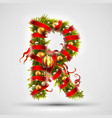 christmas font letter r of christmas tree vector image