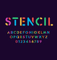 Color stencil letters and numbers set on dark