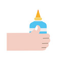 colorful hand with glue school tool to study vector image vector image
