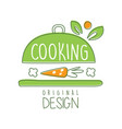 cooking logo original design with cookware and vector image vector image