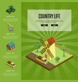 country life banner with isometric elements vector image