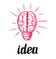creative idea and thinking brain light bulb icon vector image