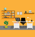 creative office desktop workspace vector image vector image
