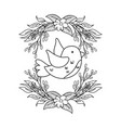 cute and little bird flying with flowers garden vector image