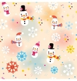 cute Christmas snowman pattern vector image vector image