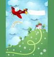 fantasy landscape with hill airplane and banner vector image vector image