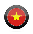 flag of vietnam shiny black round button vector image vector image