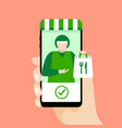 food delivery man on mobile phone screen vector image vector image