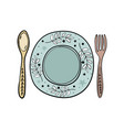 fork spoon and plate with floral ornaments boho vector image