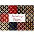 French victorian fleur-de-lis seamless pattern set vector image vector image