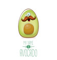 funny cartoon cute green avocado character vector image