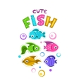 Funny childish print template with colorful fishes vector image