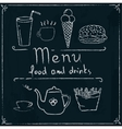 Hand drawn restaurant menu design on blackboard vector image vector image