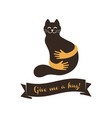 hands with cat silhouette logo pets care vector image vector image