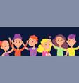happy kids background children laugh wave hands vector image vector image