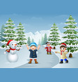 happy kids playing with a snowman in winter vector image vector image