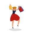 jumping shopping woman customer shopaholic female vector image