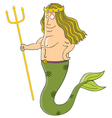 King of mermaids cartoon vector image vector image