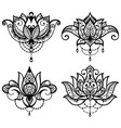 lotus tattoo set vector image vector image