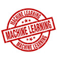 machine learning round red grunge stamp vector image vector image
