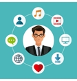 man glasses business with social media icons vector image