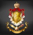 medieval ruler coat of arms 3d realistic vector image