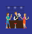 party club clubbing people with cocktails drinks vector image vector image