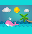 pink whale swimming in sea and coconut tree vector image