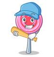 playing baseball cute lollipop character cartoon vector image vector image