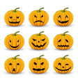 pumpkins set for halloween on a white isolated vector image