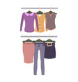racks with top and bottom female garments set vector image