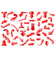 red arrows set of shiny 3d icons isolated on vector image vector image