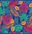 seamless pattern with tropical leaves on a blue vector image