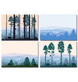 set cards forest silhouettes trees pine fir vector image