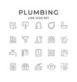 set line icons plumbing vector image