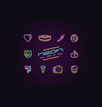 set of fast food icons in the form of neon lamps vector image vector image