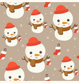 snowman editable line detailchristmas seamless vector image vector image