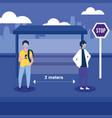 social distancing between boys with masks at bus vector image vector image